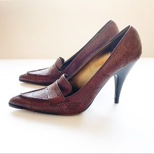Prada Embroidered Leather Heels